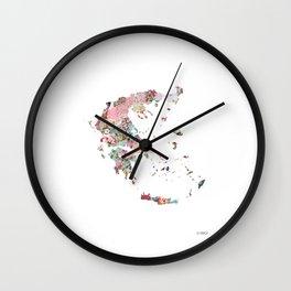 Greece map portrait Wall Clock
