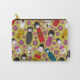 Mustard Kokeshi Dolls Carry-All Pouch