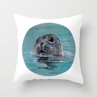 seal Throw Pillows featuring seal by ARTito
