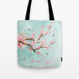 Its All Over Again - Romantic Spring Cherry Blossom Butterfly Illustration on Teal Watercolor Tote Bag