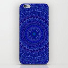Blue Psychedelic Floral Mandala iPhone Skin
