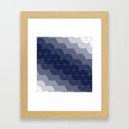 Navy Blue Triangles Minimal Framed Art Print