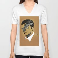 quentin tarantino V-neck T-shirts featuring Quentin by Gabby Grife | GuinArt
