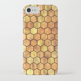Golden Honeycomb Pattern iPhone Case