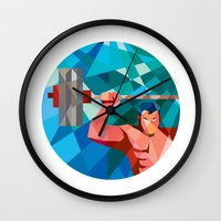 snatch Wall Clocks featuring Weightlifter Snatch Grab Lifting Barbell Low Polygon by patrimonio