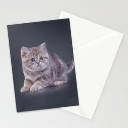 Drawing funny kitten Stationery Cards