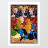 federico babina Art Prints featuring L'Epoca di Federico II - La giostra by Francesca Cosanti