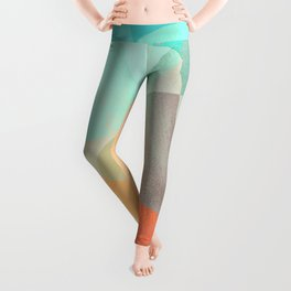 Shapes and Layers no.29 - Blue, Orange, Gray, abstract painting Leggings