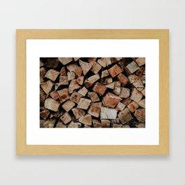 Chopped Firewood Stack Framed Art Print