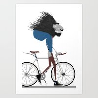 hipster lion Art Prints featuring Hipster Lion and his Bicycle by WyattDesign