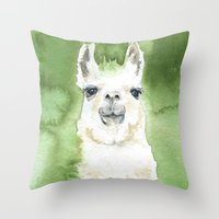 llama Throw Pillows featuring Llama by Susan Windsor