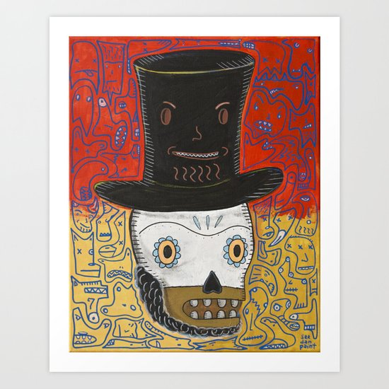 The spontaneously monsterfied account of the Lincoln Calavera and the hat he should have never worn. Art Print