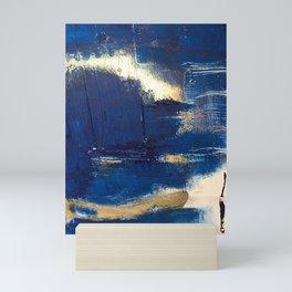 Halo [2]: a minimal, abstract mixed-media piece in blue and gold by Alyssa Hamilton Art Mini Art Print