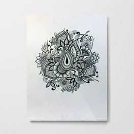 Black and white floral doodle Metal Print
