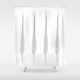 Grey Little Feather Shower Curtain