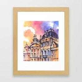 Brussels ink & watercolor illustration Framed Art Print