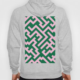 Cotton Candy Pink and Cadmium Green Diagonal Labyrinth Hoody
