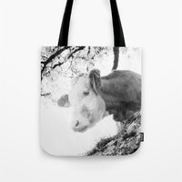 cow Tote Bags featuring COW by Julia Aufschnaiter
