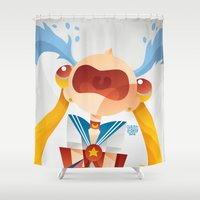 sailormoon Shower Curtains featuring Crying Sailor Moon by Claudio Bandoli