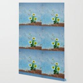 Daisies on rusty metal Wallpaper