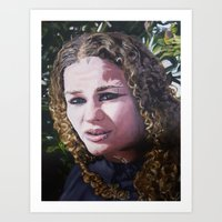 Oil paint on canvas painting of the portrait of a curly haired woman Art Print