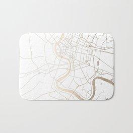 Bangkok Thailand Minimal Street Map - Gold Metallic and White IV Bath Mat