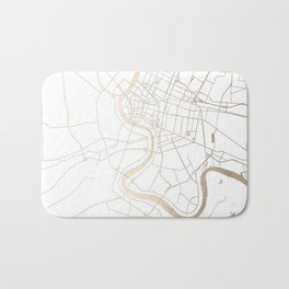 Bangkok Thailand Minimal Street Map - Gold Metallic and White IV Bath Mat