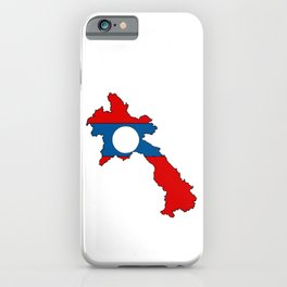 Laos Map with Laotian Flag iPhone Case