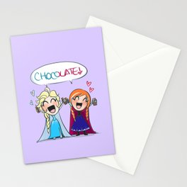 Frozen- Elsa and Anna Chocolate fan!! Stationery Cards