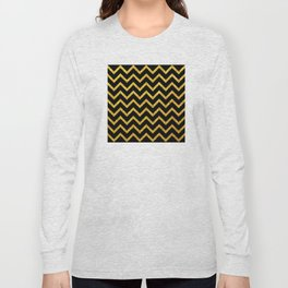 Art Deco Glitter-Gold Zigzag Lines on Black Pattern Long Sleeve T-shirt