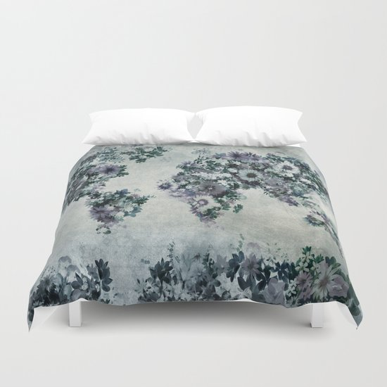 floral world map 2 Duvet Cover