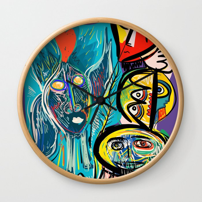 Red Fish and a Spirit of Love Street Art Graffiti Wall Clock