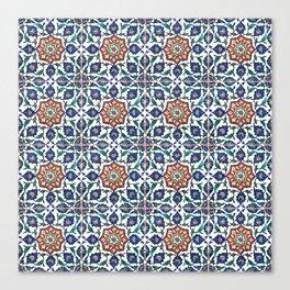 Iznik Tile Pattern Red Blue White Canvas Print