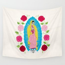 Skull Virgin of Guadalupe_ Hand embroidered Wall Tapestry
