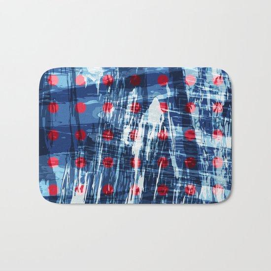 dots on blue ice Bath Mat