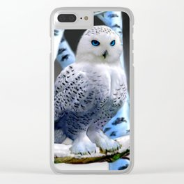 Blue-eyed Snow Owl Clear iPhone Case