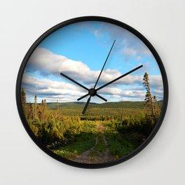 Big Skies over Mountain Trail Wall Clock