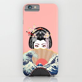 Portrait of japanese geisha woman with traditional fan design iPhone Case