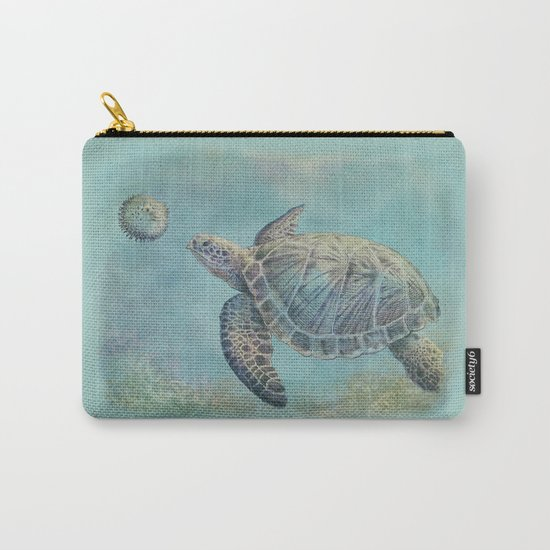 A Curious Friend (sea turtle variation) Carry-All Pouch