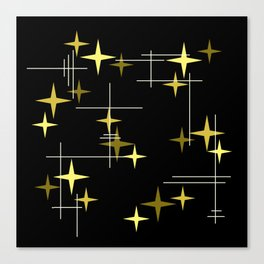 Mid Century Modern Stars Black Yellow Canvas Print