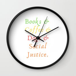 Books & Coffee & Doggo Law Students Quote Tee Shirt Gifts | Humorous Literarian Lawyers Pun Men Wall Clock