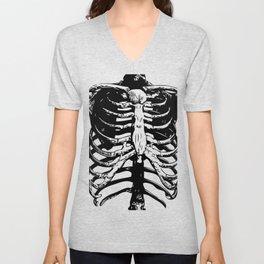Skeleton Ribs | Black and White Unisex V-Neck