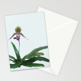 Paphiopedilum in Neutral Stationery Cards