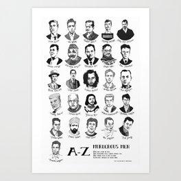 A-Z of Men who Murder Art Print