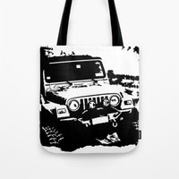 jeep Tote Bags featuring Jeep by Bwoodstockfoto