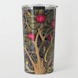 William Morris Woodpecker, Fruit Tree & Poppy Flower Garden Tapestry Textile Floral Print Travel Mug