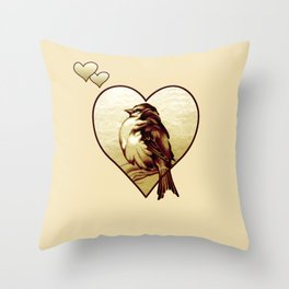 Sparrow in the Cold Throw Pillow