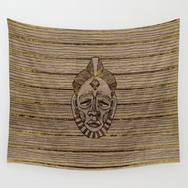 Pyrography Style African Mask on Wood with gold Wall Tapestry