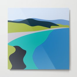 Blue Green Beach Metal Print