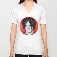 jack white V-neck T-shirts featuring Jack White by Sosha Krosley